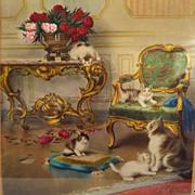 SOLD Antique Cat Kitten Print Jules Leroy