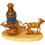 SOLD Antique French Palais Royal Opaline Goat Cart Perfume