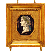 SOLD Antique Portrait Miniature Roman Emperor Enamel on Copper
