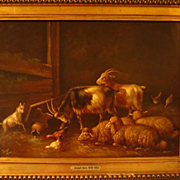 SOLD On Hold  Sheep in Stall Oil on Board Painting Signed