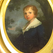 SALE 19th Century American Portrait Young Boy in Carved Gold Leaf Frame