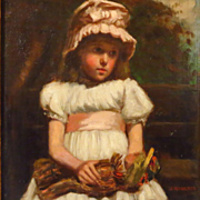 SALE Young Girl with Yarn Doll Oil Painting