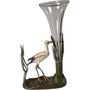 SOLD Miniature cold Painted Bronze Heron in Bullrushes Bud Vase