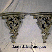 SOLD Pair Vintage Faux Painted Wall Brackets Shelves