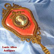 SOLD Antique French guilloche enamel portrait miniature bronze hand mirror