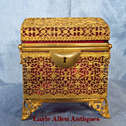 Luxurious antique cranberry glass casket box with ormolu