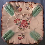 SALE French Majolica Square Asparagus Plate Longchamp