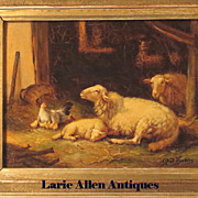 SOLD Alfred Jacques Verwee Oil Sheep in Stall