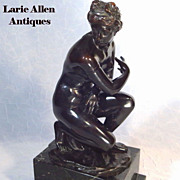 SOLD Crouching Venus Patinated Bronze Sculpture