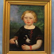 SOLD Girl with Dog Oil Painting Mid 19th Century