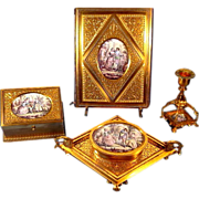 SALE Museum Quality 4 Piece Gilded Bronze Enamel Miniatures Desk Set