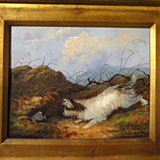 SOLD Terrier dog oil painting dog hunting
