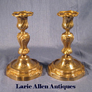 SOLD Pair 19th Century French Bronze Rococo Candlesticks