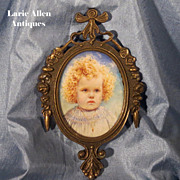 Young Child Edwardian Portrait Miniature Signed