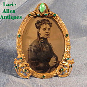 SOLD Victorian Miniature Jeweled Picture Frame