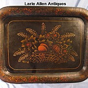SOLD Large 19th century tole tray with harvest scene