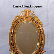 SOLD Antique French bronze champleve standing mirror or frame