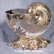 SOLD On Hold.  High Relief Silverplated Nautilus Spoon Warmer by Atkin Brothers