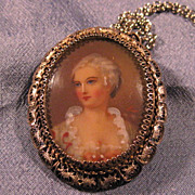 SALE Continental Silver Filigree Portrait Necklace Brooch