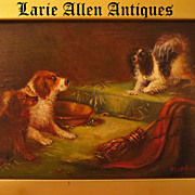 SOLD Antique European Miniature Dog Painting Signed