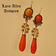 SOLD Antique Victorian Coral 14K Day Night Dangle Earrings