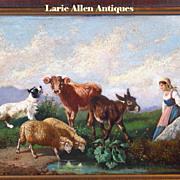 SALE 19th century Italian oil painting animals landscape scene Antonio Milone