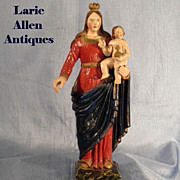 SOLD Antique Madonna with Child Handcarved Santos