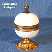 Antique French Bulle de Savon opaline hinged box gilt ormolu