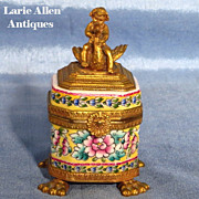 SOLD Limoges handpainted box inkwell with bronze ormolu