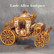 Antique Viennese Austrian Enamel Miniature Carriage