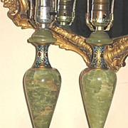 SOLD Pair French onyx and champleve table lamps