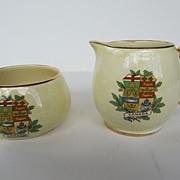 """Vintage Royal Winton Grimwades Sugar Bowl and Creamer - """"Canada"""" - c. 1934-1950"""