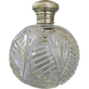 Antique Cut Glass and English Sterling Silver Perfume Bottle - London 1906