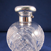 Antique English Cut Glass and Sterling Silver Perfume Bottle - London 1907