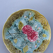 Antique:Majolica:Plate:Rose Pattern:c. 1880