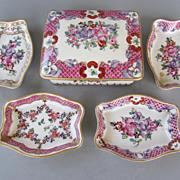 SOLD Vintage Porcelaine de Paris Trinket Box and 4 Dishes - c. 1920s