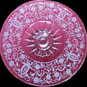 SALE Beautiful Vintage Etched Floral Design Pedestal Cake Plate
