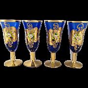 SOLD Venetian Art Glass Moser Cobalt and Gold Cordials Set of 4