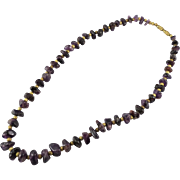 SALE Graduated Natural Purple Amethyst Stone Bead Necklace