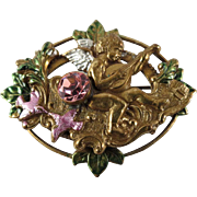 Vintage Cherub Pin with Lovebirds and Pink Rhinestone