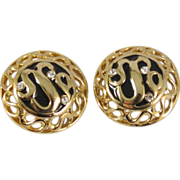 Round Gold-Tone Earrings with Rhinestones and Black Enamel for Pierced Ears