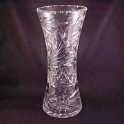 SOLD Large Clear Crystal Floral Design Vase with Wheel-Cut Flowers