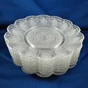 SALE Set of 8 Pattern Glass Dessert Plates Similar to Thousand Eye Pattern