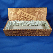 SALE Vintage Lady's Wood-Burned Design Vanity Glove Box