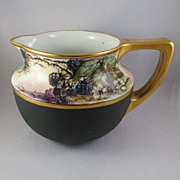 SALE Antique Porcelain Pitcher, Hand-Painted and Signed, Blackberries, Vienna, Austria c. 1900