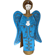 SALE Vintage Figure Paper Mache Angel with Detachable Wings 17 in. Tall