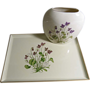 SALE Otagiri Lacquerware Tray and Porcelain Pillow Vase/Violets