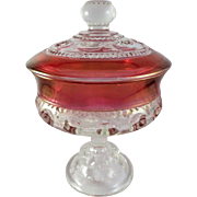 SALE Indiana Glass King's Crown, Ruby Flashed Thumbprint Lidded Compote