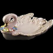 Lefton #954 Pink Porcelain Swan Ladies' Ash Tray