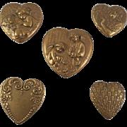 SALE Vintage Gold/Bronze Tone Heart Shaped Art Nouveau Style Button Covers
